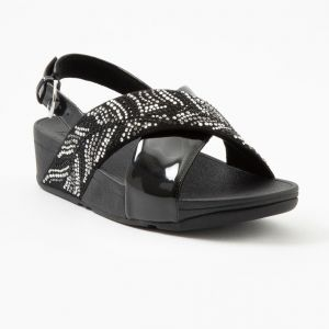 Lulu Crystal Feather Back-Strap Sandals