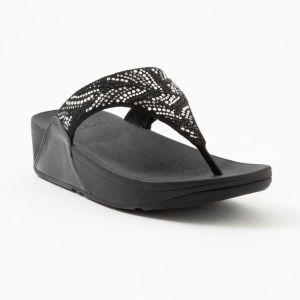 Lulu Crystal Feather Toe-Post Sandals