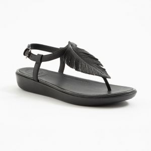 Tia Feather Back-Strap Sandals